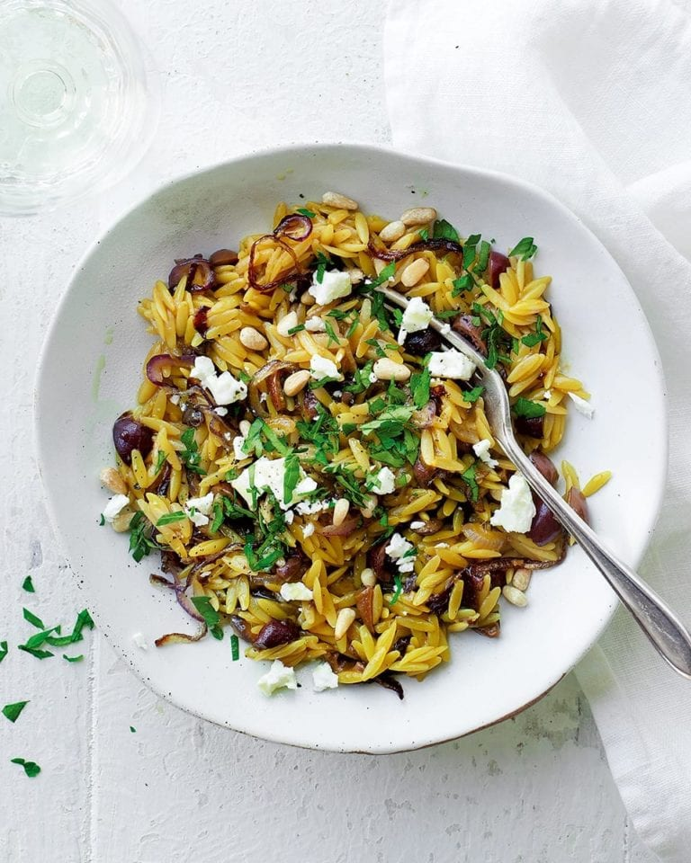 One-pot orzo with feta and olives