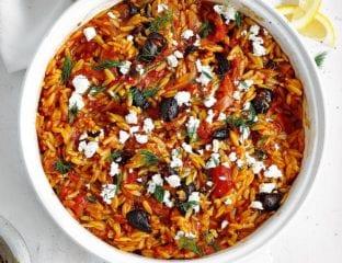Tomato, dill, olive and feta orzo