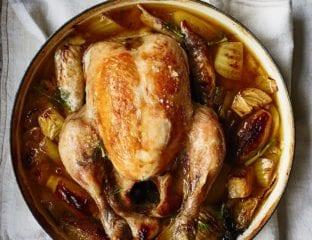 Fennel and white wine pot-roast chicken