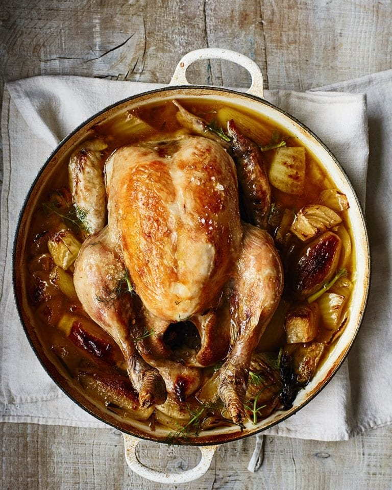 Fennel and white wine pot-roast chicken