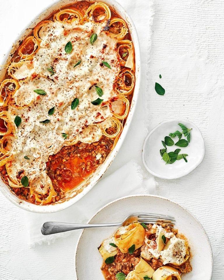 Leftover bolognese rotolo pasta bake
