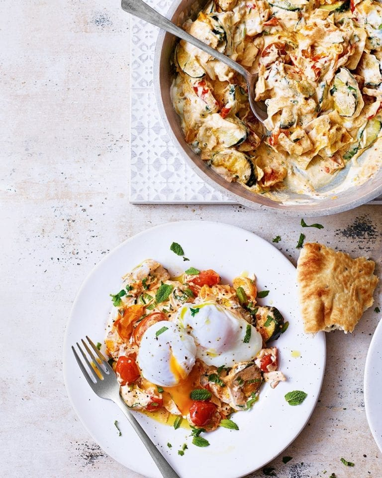 Courgettes with chilli-spiced yogurt and poached eggs