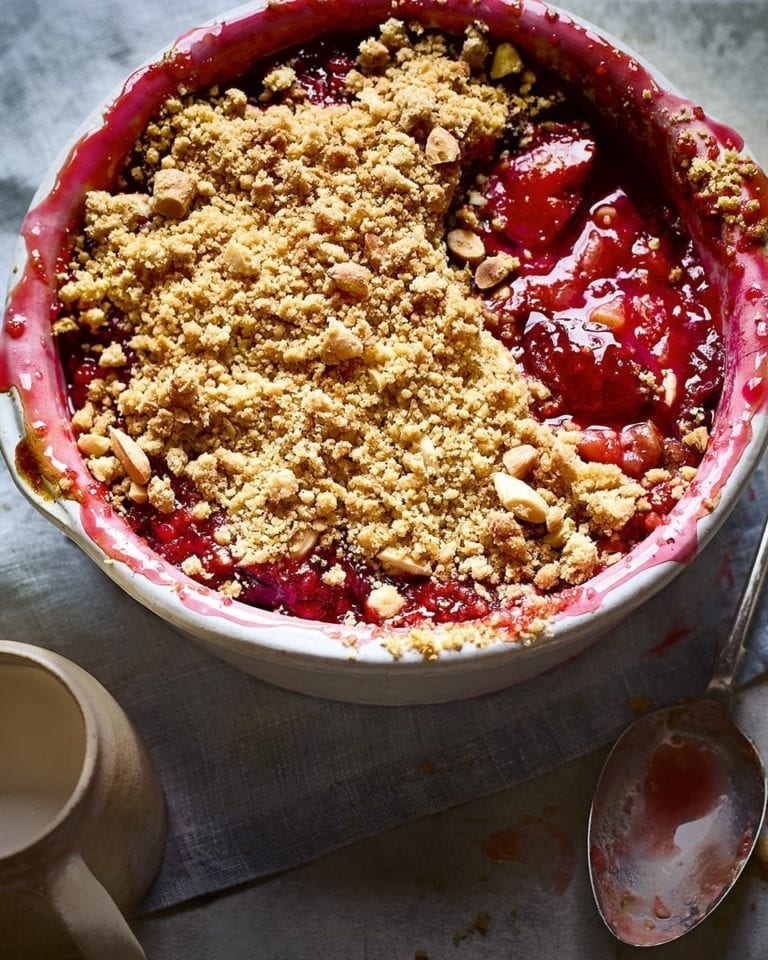 Nutty plum and sloe gin crumble