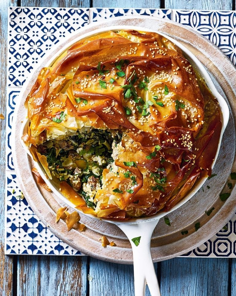 Greek-style lamb, spinach and feta pie