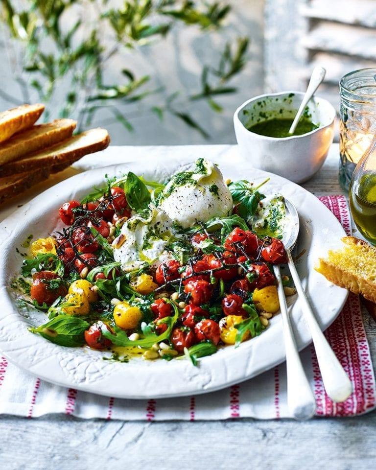Tomato and burrata salad with basil oil