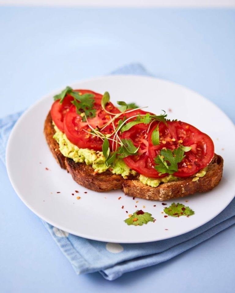 Quick avocado toast with tomato