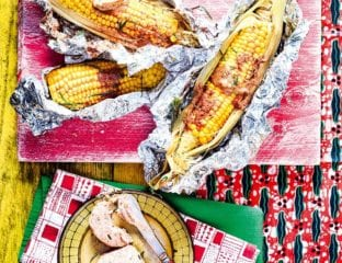 Baobab butter and rosemary corn cobs