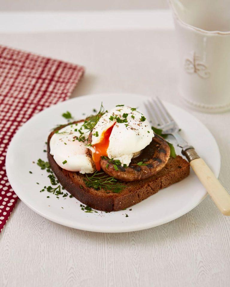 Herby mushroom and eggs on toast