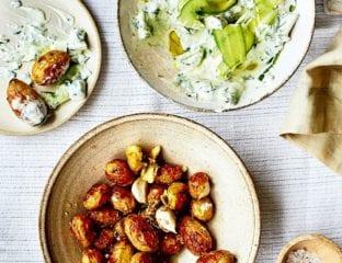 Cucumber, herb and garlic yogurt with mini roast potatoes
