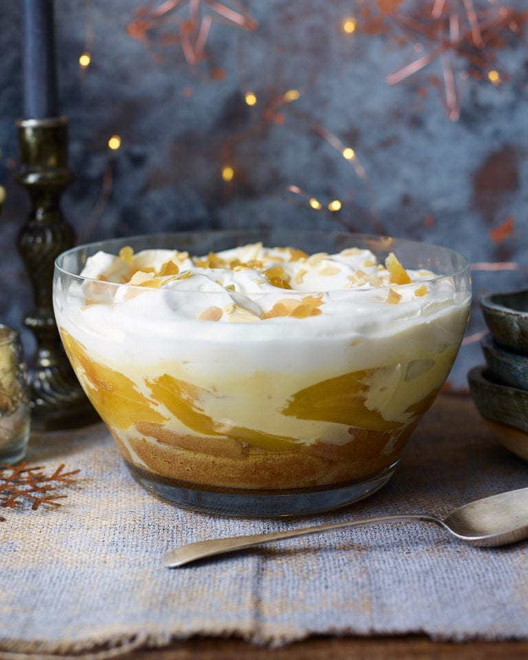 Saffron-poached pear, madeira and ginger trifle