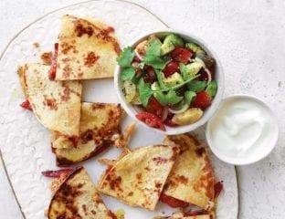 Cheesy quesadillas with tomato, red pepper and avocado salsa
