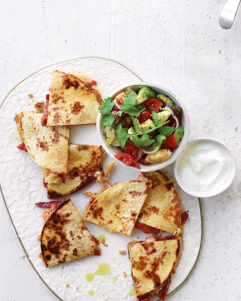 Cheesy quesadillas with tomato, red pepper and avocado salsa
