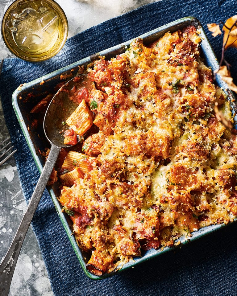 Sausage and fennel pasta bake
