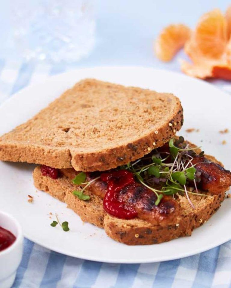 Vegetarian sausage sandwich