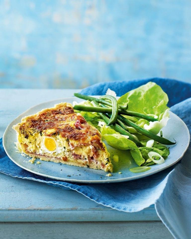 Ham and Boursin quiche with quail eggs