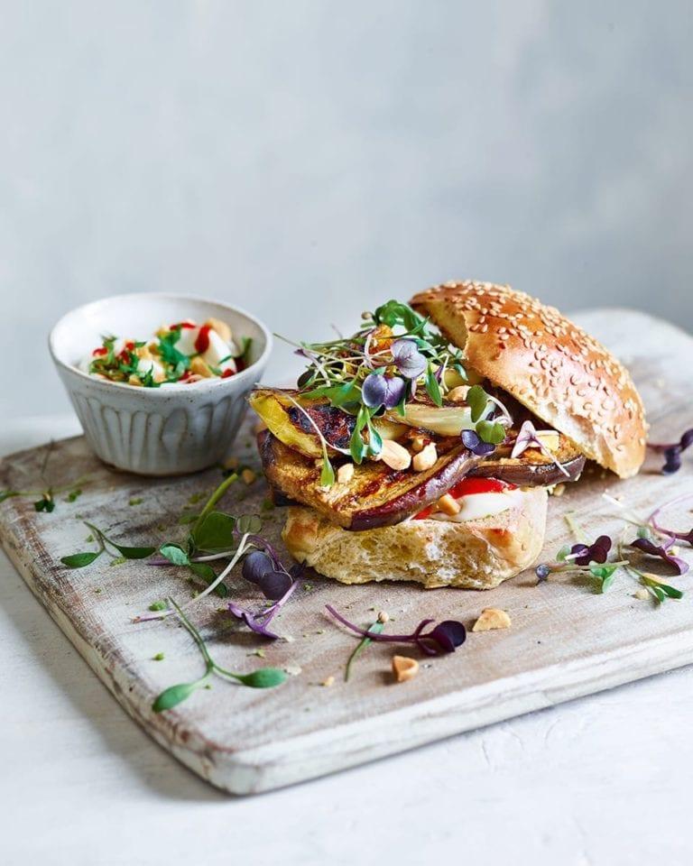 Miso and maple aubergine 'steak' burger