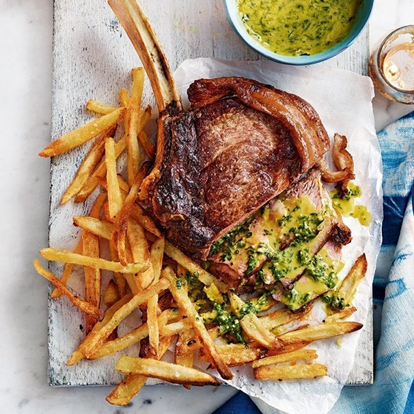 Rib steak for two with pesto hollandaise and skinny oven chips