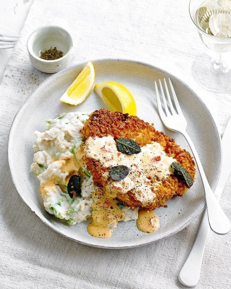Cauliflower schnitzels with paprika and sage sauce and butter bean mash