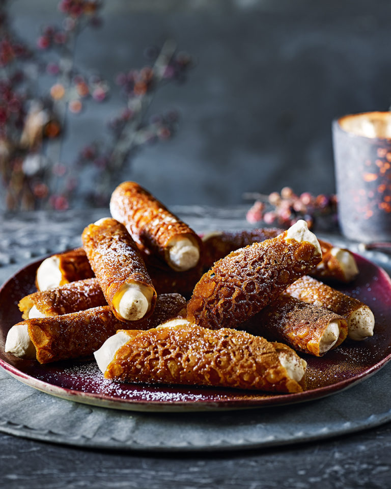 Brandy snaps with Baileys espresso martini cream