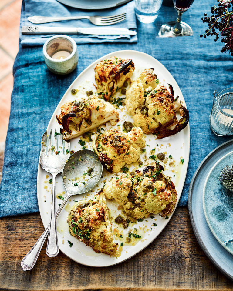 Cauliflower steaks with caper butter and parsley breadcrumbs