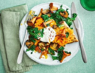 Poached egg, squash, mushrooms and kale on sourdough