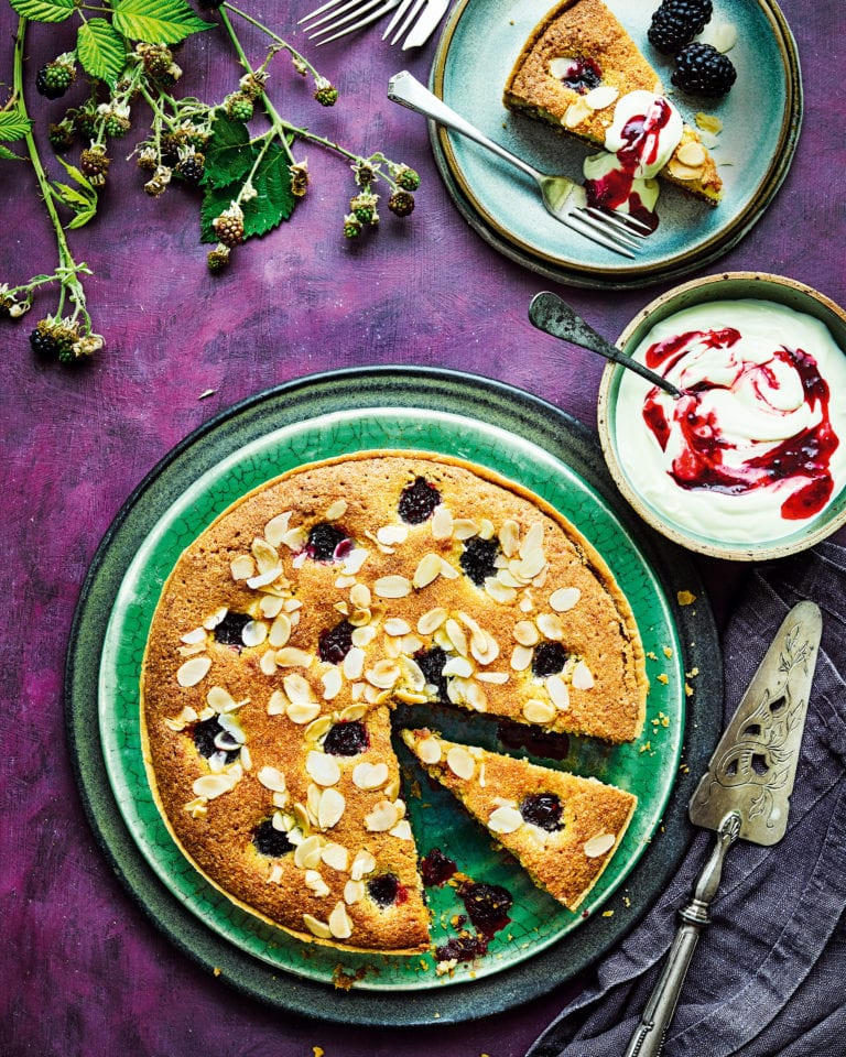 Blackberry and apple bakewell tart