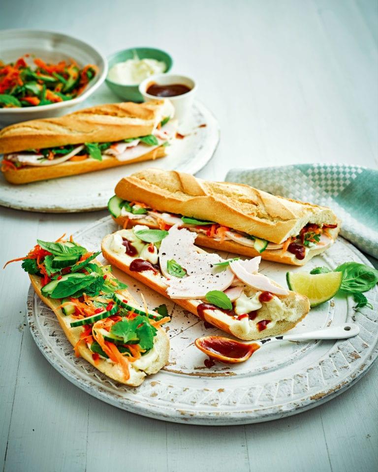 Vietnamese turkey sandwich (banh mi)