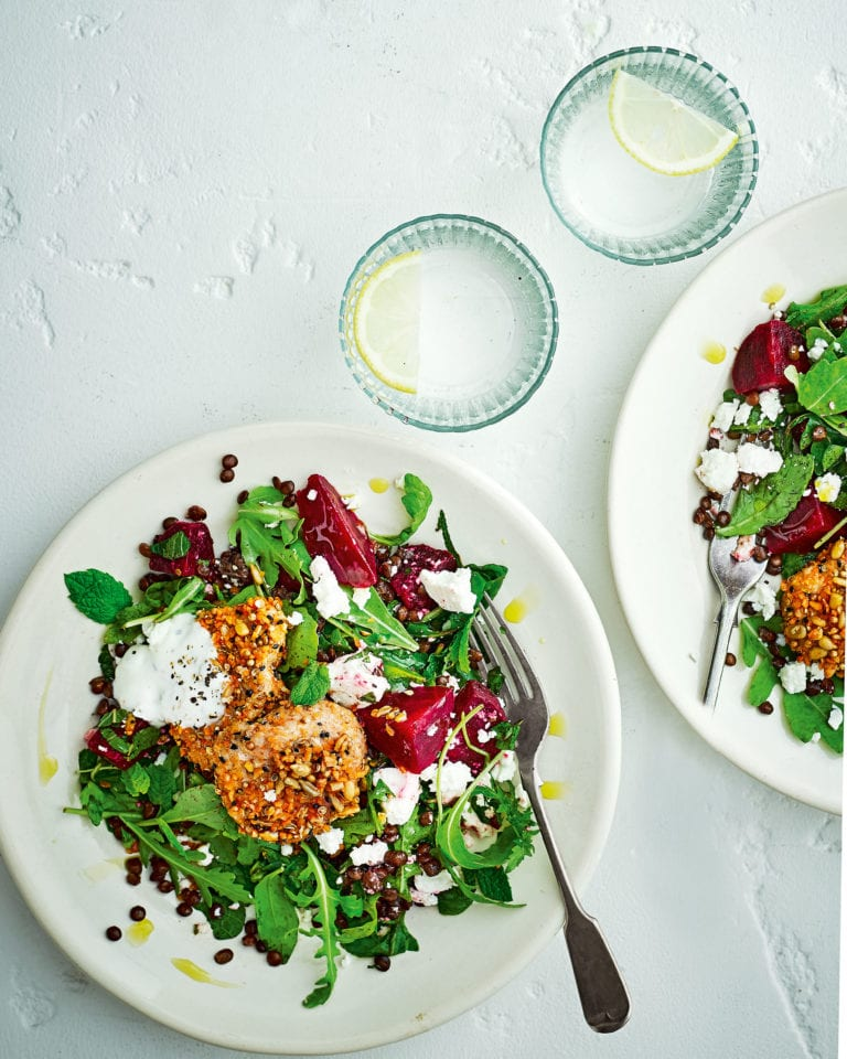 Dukkah-spiced pork with lentil, beetroot, feta and rocket salad