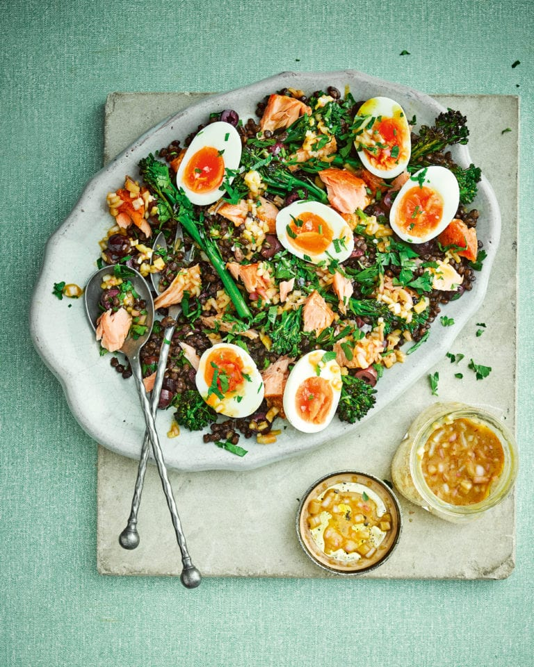 Hot-smoked salmon nicoise