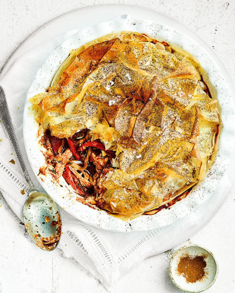 Spicy filo-topped chicken pie