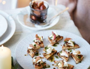 Goat's cheese and chicory crostini with balsamic pickled shallots