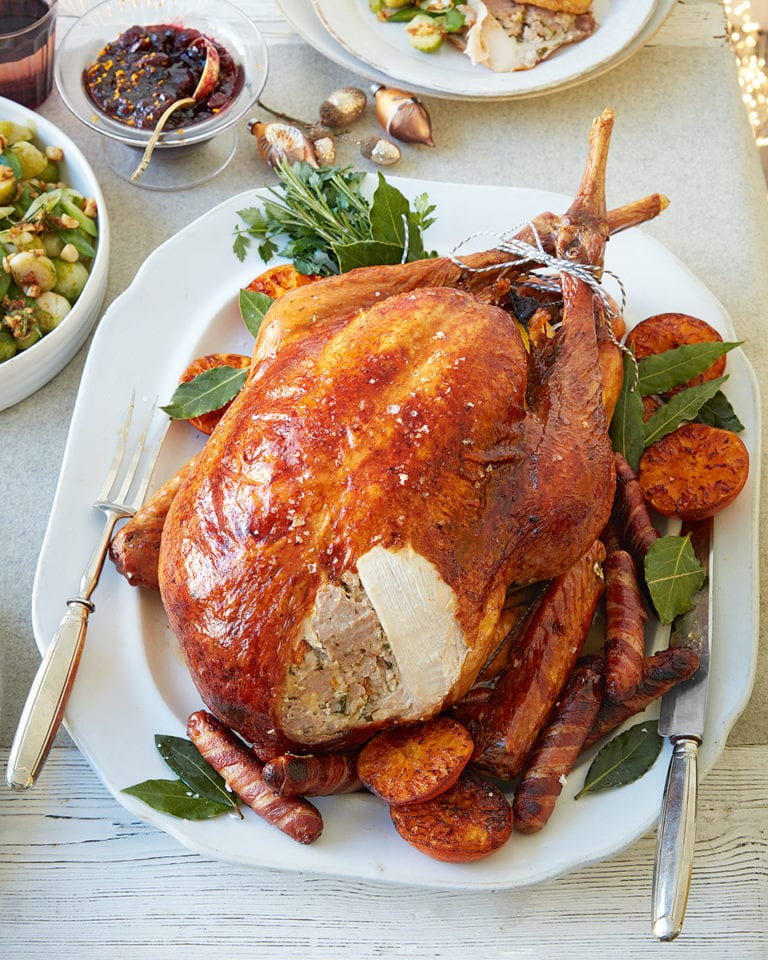 Clementine, thyme and bay roast turkey