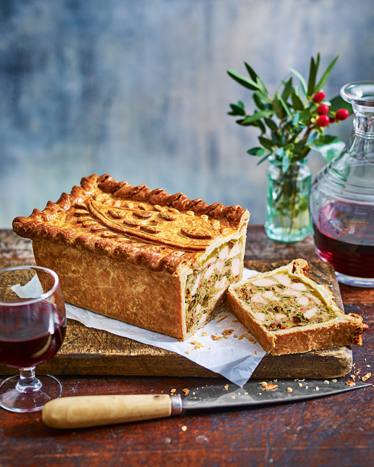 Coronation chicken pie with mango jelly
