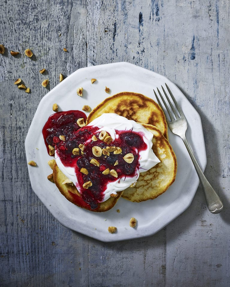 Pancakes with quick cranberry compote