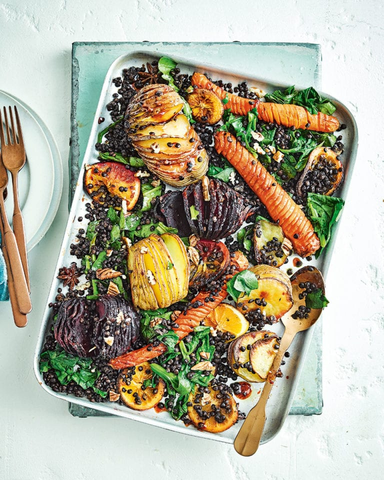 Hasselback miso roasted vegetables