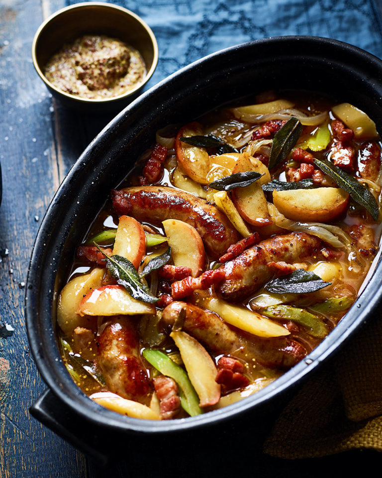 Sausage and cider casserole with apples and sage