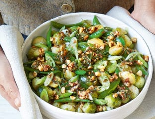 Sprouts and sugar snaps with hazelnut and rosemary butter