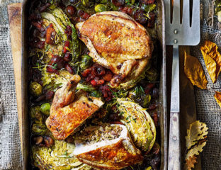Chestnut and leek stuffed chicken supremes