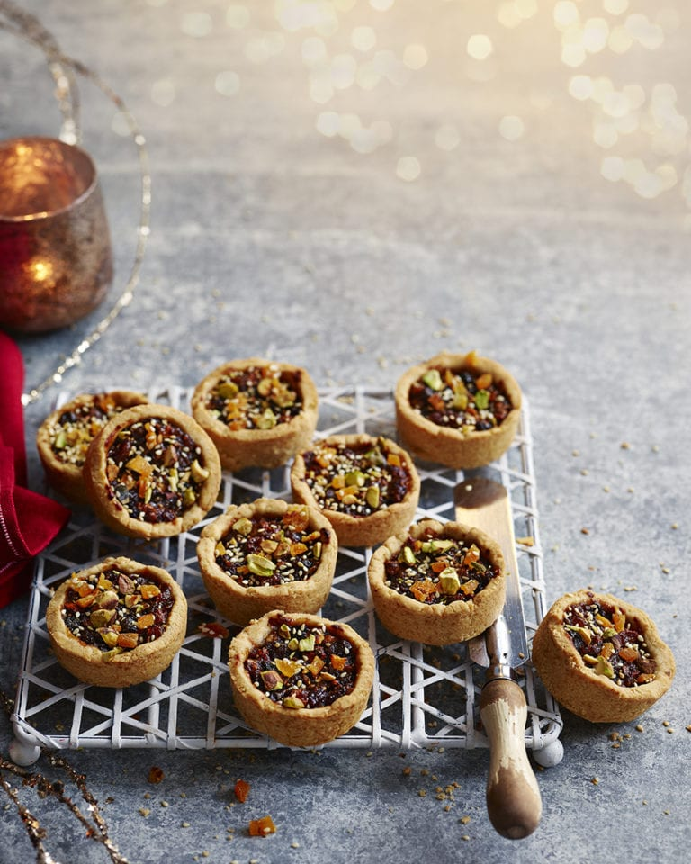 Jewelled mince pies with tahini pastry