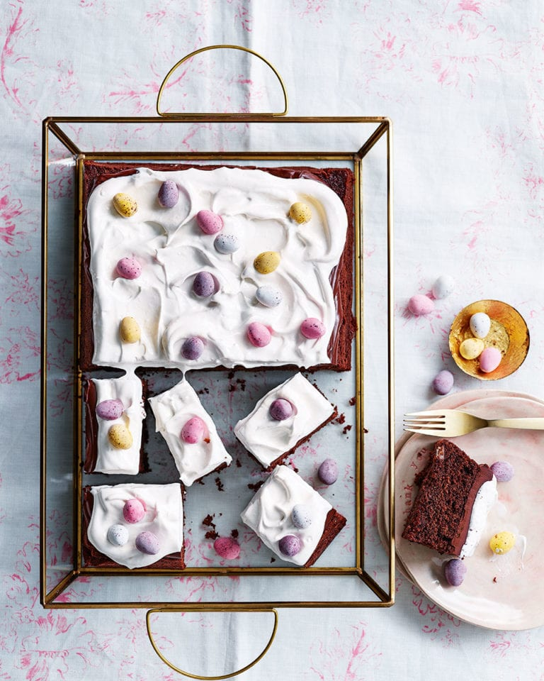 Chocolate and marshmallow mini egg traybake
