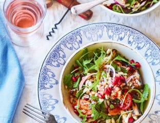 Barley, aubergine and pomegranate salad