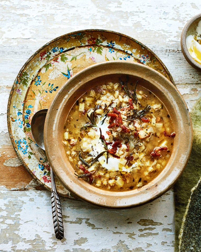 Celeriac, bacon  and barley soup