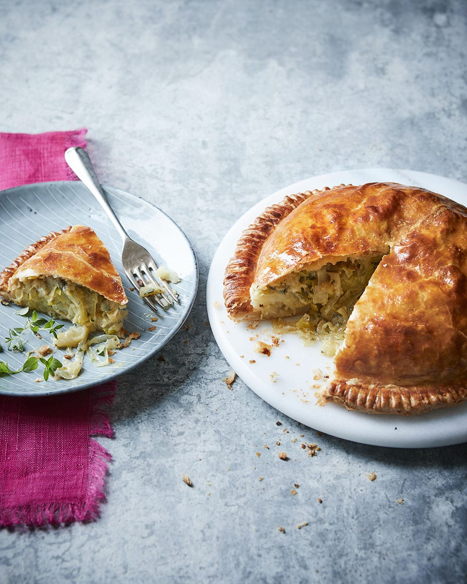 Potato leek and stilton pithivier