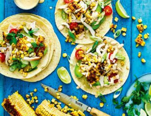 Chicken and charred corn tacos