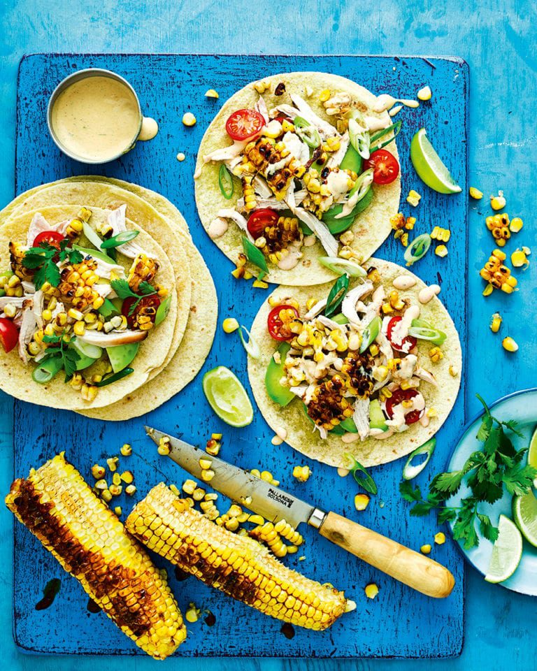 Charred corn and chicken tacos