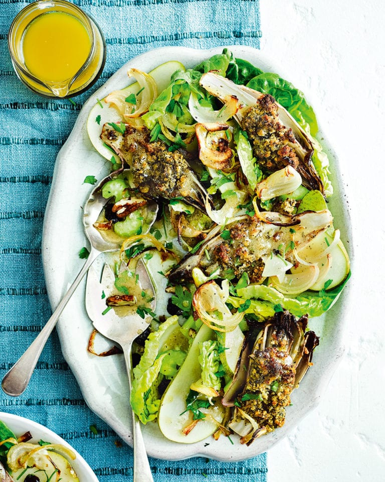 Warm stuffed chicory salad