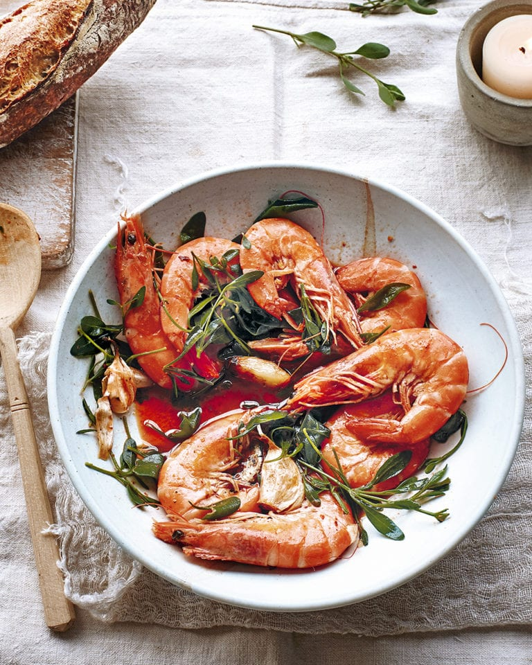 Chilli and garlic prawns with sea purslane