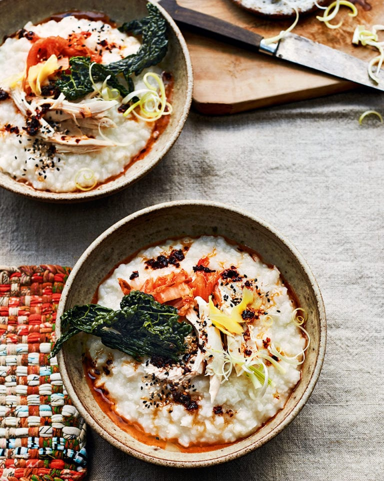 Ginger chicken congee (rice porridge) with kimchi