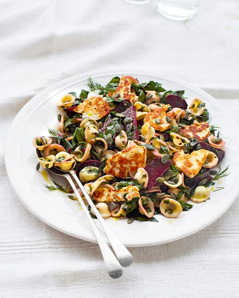 Pasta salad with halloumi, chard and beetroot