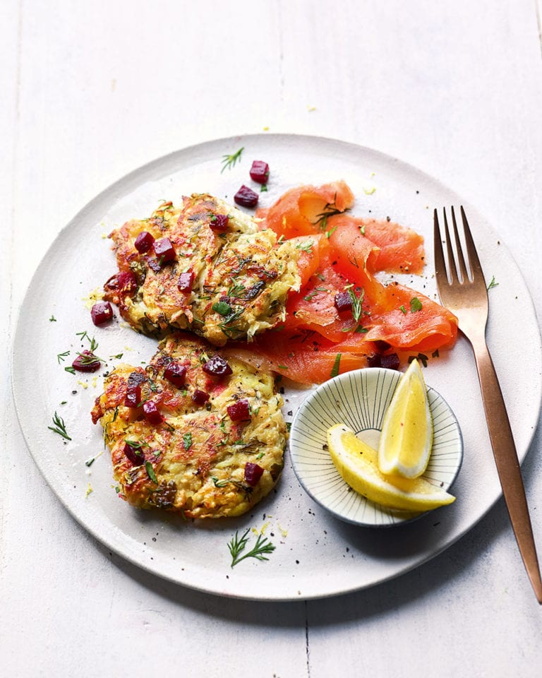 Celeriac and fennel potato latkes with smoked trout